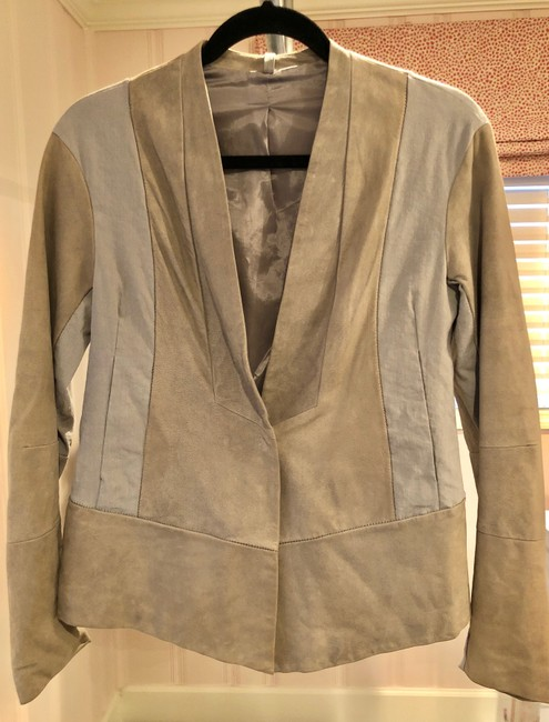 Transit par-such grey and taupe Leather Jacket Image 6