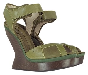 Alexander McQueen Edgy Leather Nubuck Green Dark Olive Wedges