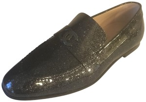 Chanel Loafers Moccasin Cc Patent Leather Black Flats
