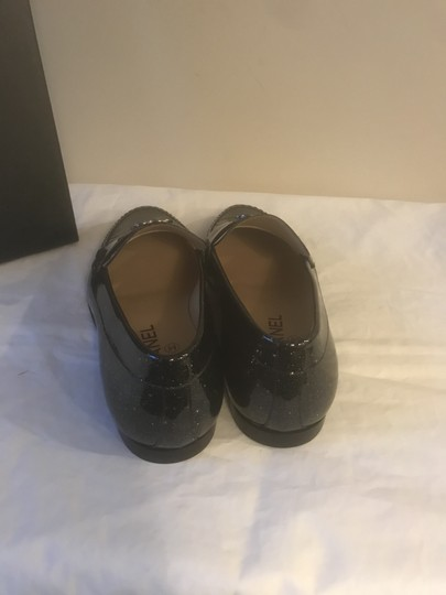 Chanel Loafers Moccasin Cc Patent Leather Black Flats Image 1