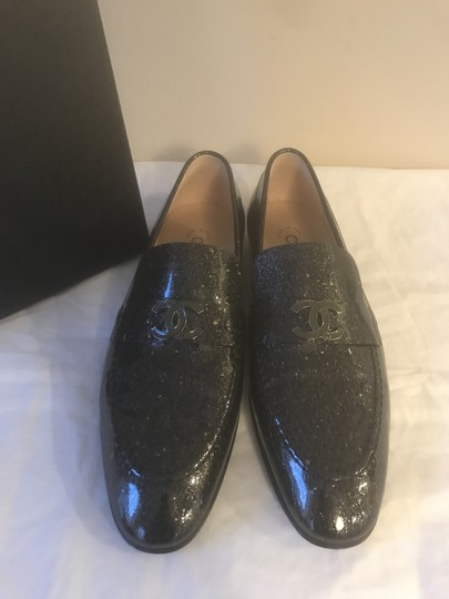 Chanel Loafers Moccasin Cc Patent Leather Black Flats Image 10