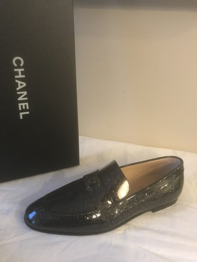 Chanel Loafers Moccasin Cc Patent Leather Black Flats Image 11
