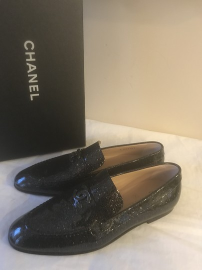 Chanel Loafers Moccasin Cc Patent Leather Black Flats Image 4