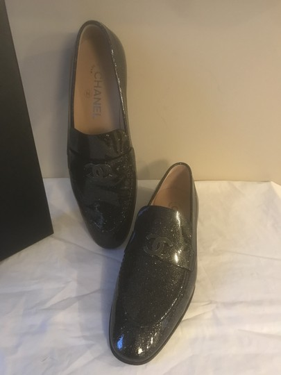 Chanel Loafers Moccasin Cc Patent Leather Black Flats Image 5