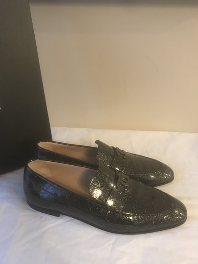 Chanel Loafers Moccasin Cc Patent Leather Black Flats Image 6