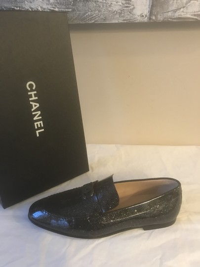 Chanel Loafers Moccasin Cc Patent Leather Black Flats Image 7