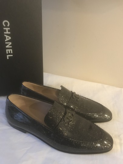 Chanel Loafers Moccasin Cc Patent Leather Black Flats Image 8