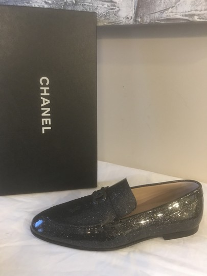Chanel Loafers Moccasin Cc Patent Leather Black Flats Image 9