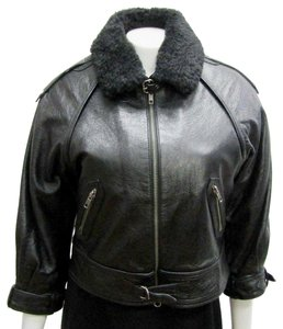 Yigal Azrouël Moto Leather Distressed Collar Motorcycle Jacket