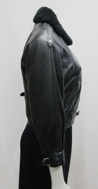 Yigal Azrouël Moto Leather Distressed Collar Motorcycle Jacket Image 1