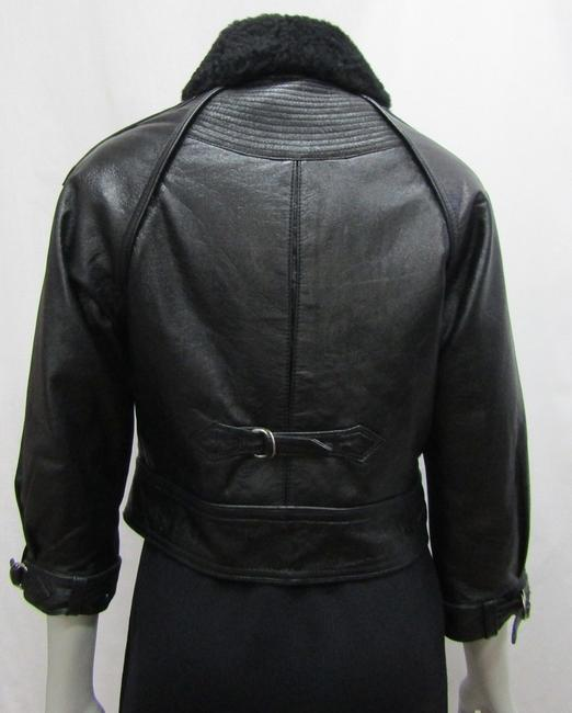Yigal Azrouël Moto Leather Distressed Collar Motorcycle Jacket Image 3