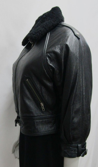 Yigal Azrouël Moto Leather Distressed Collar Motorcycle Jacket Image 4
