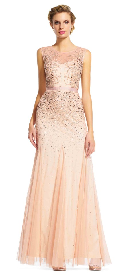 4c89b3e4df53b8 Adrianna Papell Blush Beaded Gown with Illusion Neckline Long Formal ...