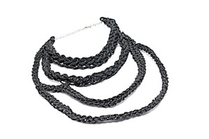 OGJM OGJM Black White Woven Rope Necklace with Sterling Chain + Clasp