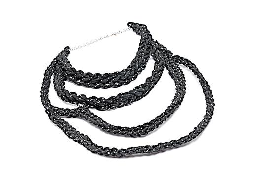 Preload https://img-static.tradesy.com/item/22838424/black-white-woven-rope-with-sterling-chain-clasp-necklace-0-0-540-540.jpg