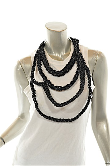 OGJM OGJM Black White Woven Rope Necklace with Sterling Chain + Clasp Image 1
