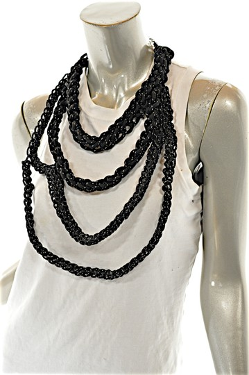 OGJM OGJM Black White Woven Rope Necklace with Sterling Chain + Clasp Image 3