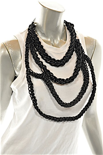 OGJM OGJM Black White Woven Rope Necklace with Sterling Chain + Clasp Image 4