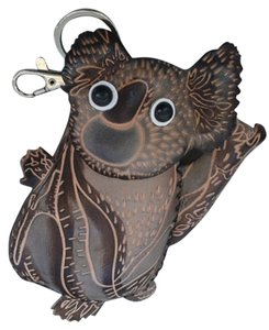 unknown Handmade Two-Tone Leather Koala Bear Coin Purse with Keychain