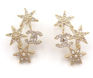 Chanel Chanel Gold Plated CC Star Cluster Crystal Faux Pearl Piercing Earring