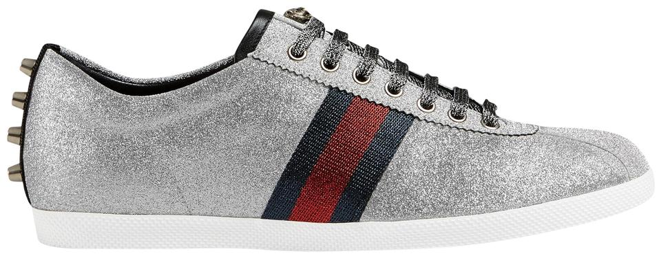 c75e995c8f3 Gucci Silver New Men s Glitter Bambi Web Sneaker with Studs Sneakers ...