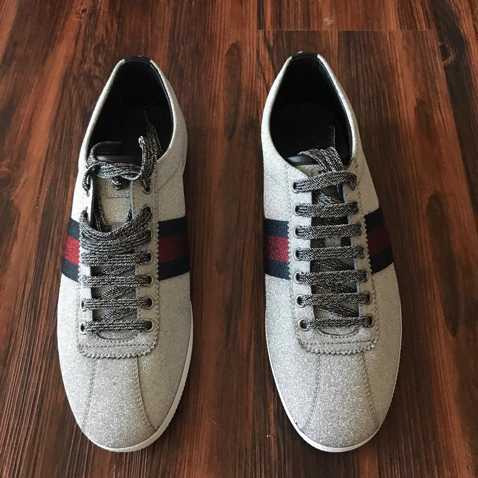 60afe07077cf1 Gucci Silver New Men s Glitter Bambi Web Sneaker with Studs Sneakers ...