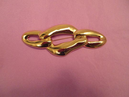 Saint Laurent Gold Links Pin Brooch Signed YSL Gold Plate Large Runway Mint Image 5