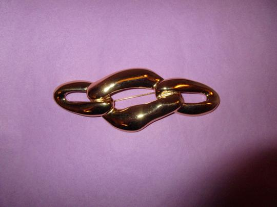 Saint Laurent Gold Links Pin Brooch Signed YSL Gold Plate Large Runway Mint Image 9