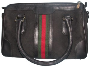 Gucci Rare Early Rare Color Combo Satchel/Shoulder Excellent Vintage Two-way Style Satchel in black with wide red/green stripe