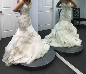 Maggie Sottero Ivory Beaded and Embroidered Bridal Gown Formal Wedding Dress Size 8 (M)