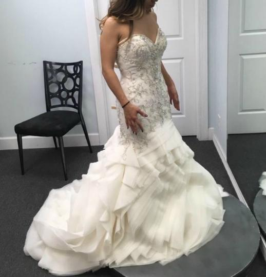 Maggie Sottero Ivory Beaded and Embroidered Bridal Gown Formal Wedding Dress Size 8 (M) Image 1