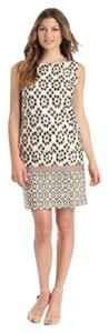 Anne Klein short dress Ivory Multi Mixed Print Sleeveless Shift Cotton Blend on Tradesy