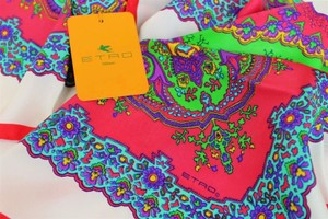 Etro NEW! Multicolor New Silk Square Paisley Made Scarf/Wrap