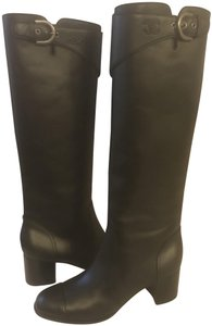 Chanel Cc Chain Quilted Knee High Black Boots