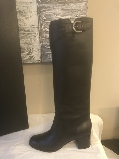 Chanel Cc Chain Quilted Knee High Black Boots Image 11