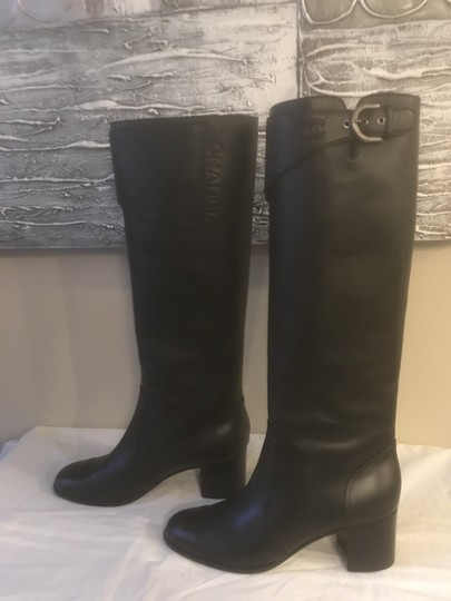 Chanel Cc Chain Quilted Knee High Black Boots Image 3