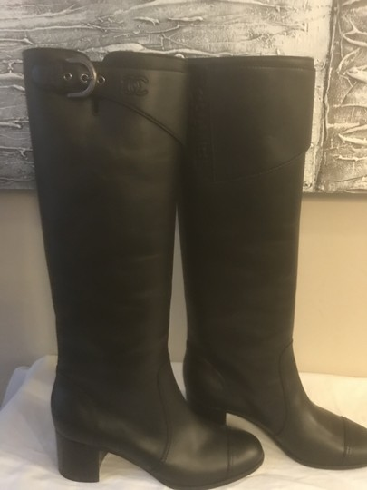 Chanel Cc Chain Quilted Knee High Black Boots Image 5