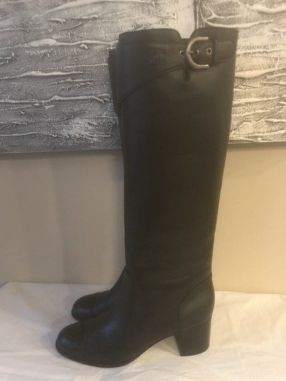 Chanel Cc Chain Quilted Knee High Black Boots Image 6