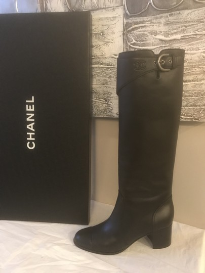 Chanel Cc Chain Quilted Knee High Black Boots Image 7