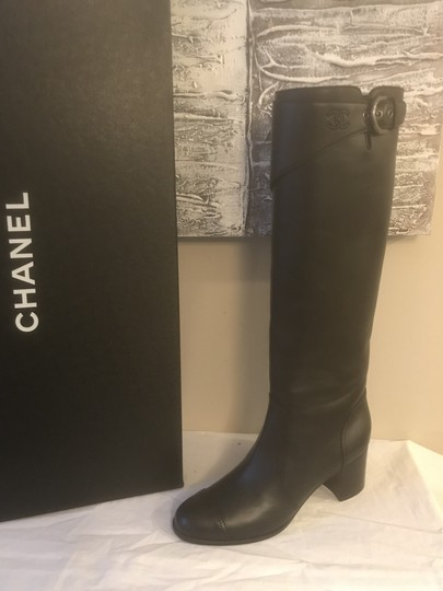 Chanel Cc Chain Quilted Knee High Black Boots Image 8