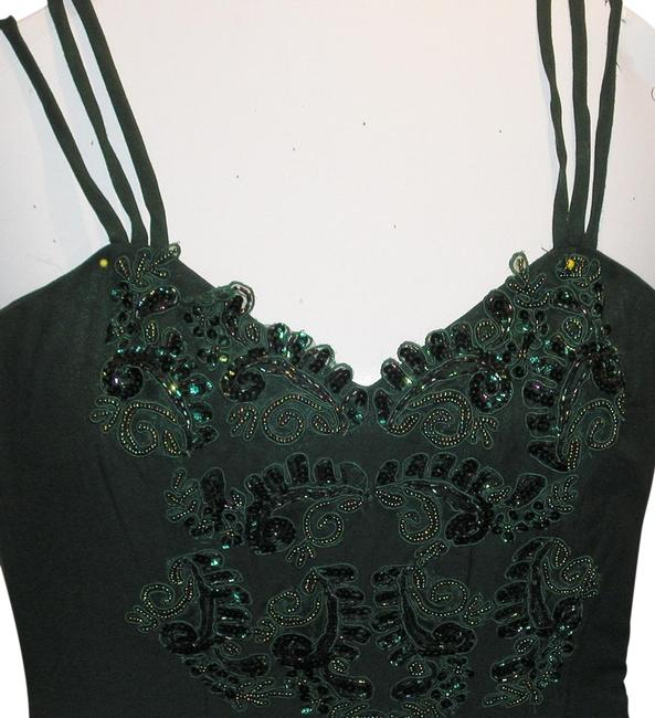 Just Female Train Fitted Embroidered Split Regal Dress Image 3