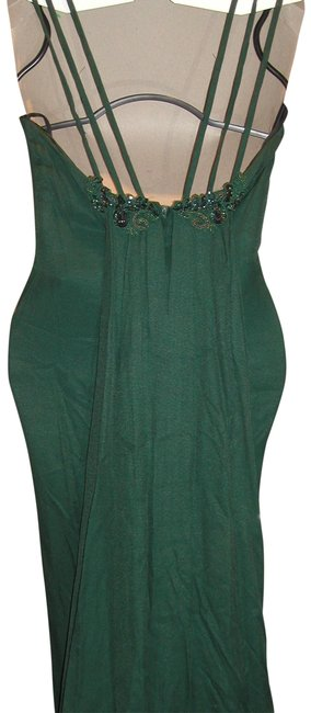 Item - Forest Green W T-triple Strap Embroidered Empire Waist W/Formal Train Long Night Out Dress Size 12 (L)