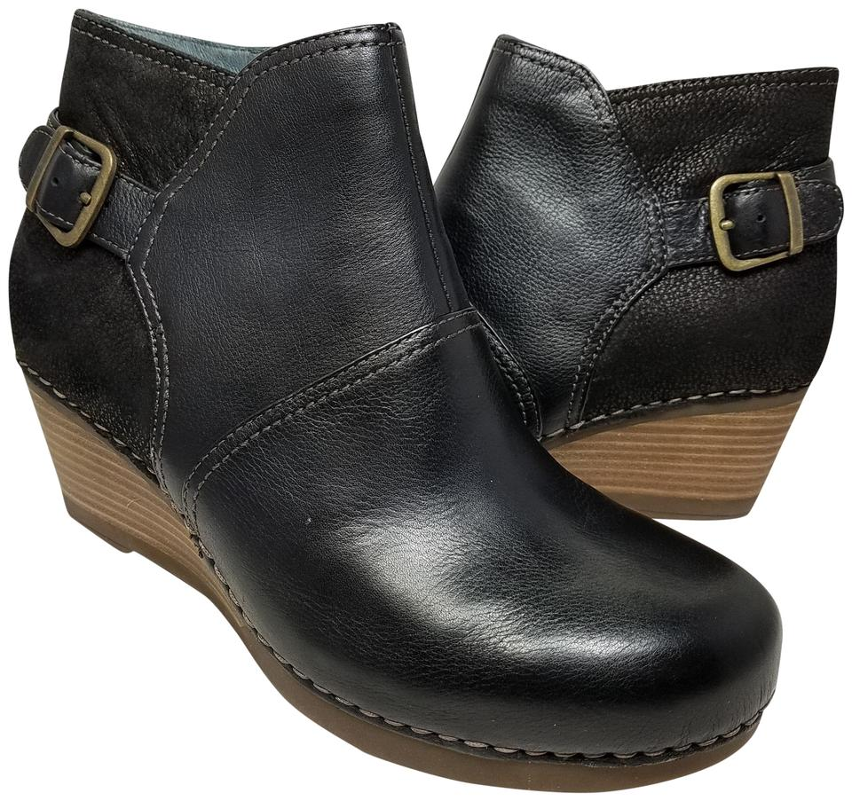 ec6aa6b6077e Dansko Black Shirley Womens Wedge Ankle Leather Boots Booties Size ...