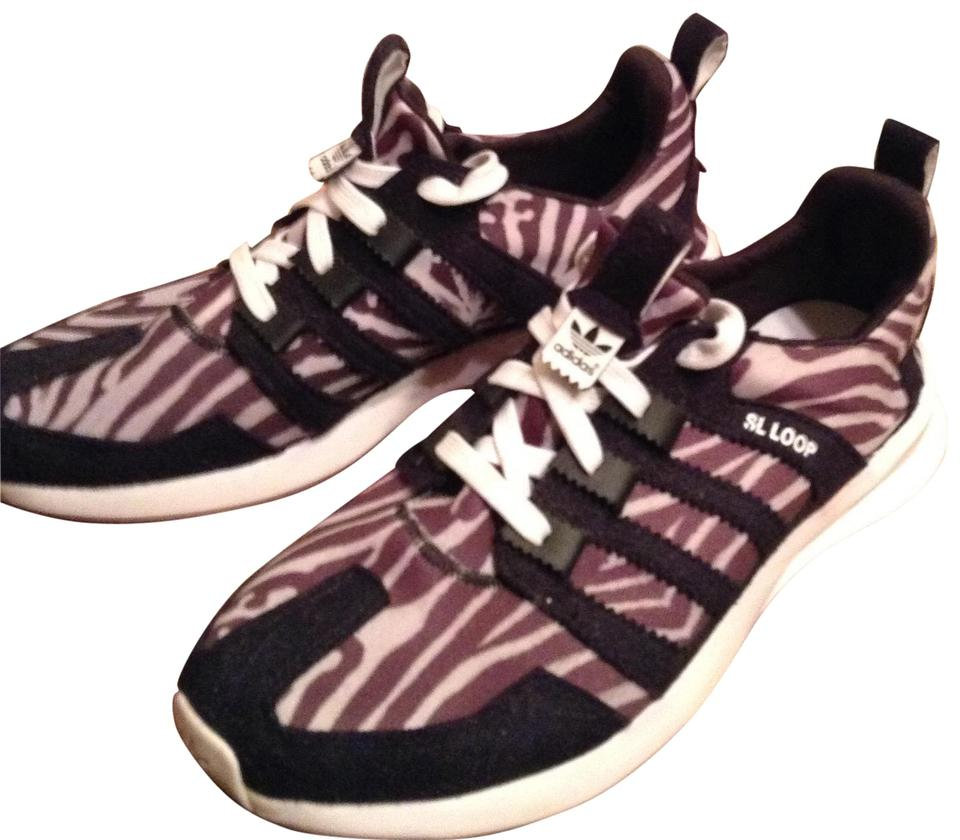 new arrivals c1520 70199 adidas Black and White Zebra Sl Loop Racer Sneakers