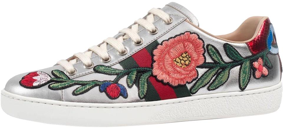 0eeaa19c935 Gucci Ace Metallic Floral Trainer Sneaker silver Athletic Image 0 ...