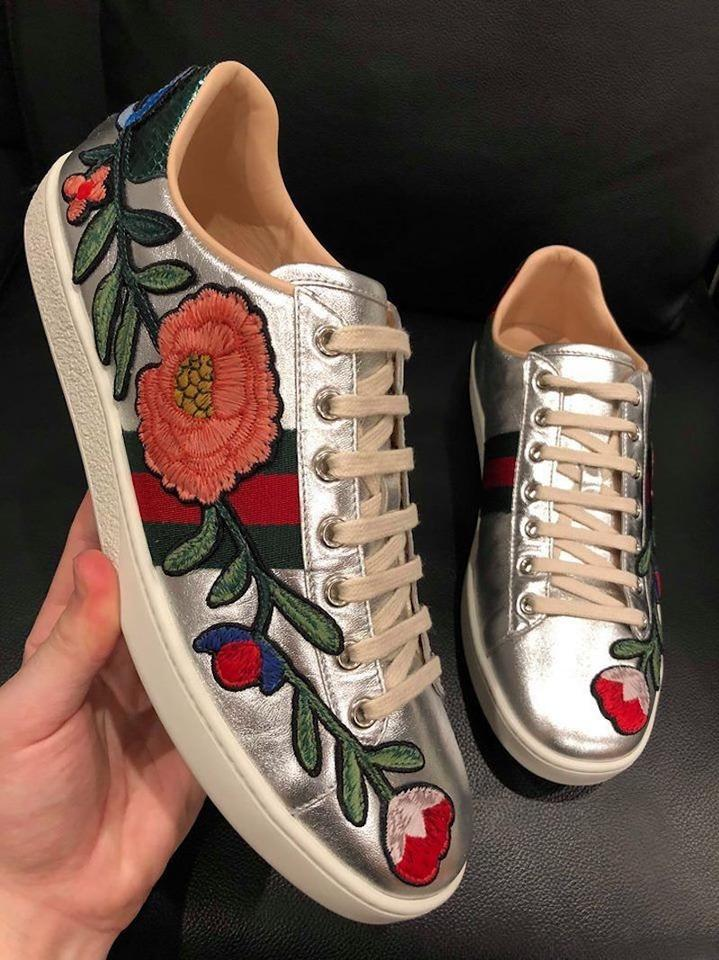 608255649b1 Gucci Silver Ace Metallic Red Floral Embroidered Leather Flat Sneakers  Sneakers Size EU 39 .