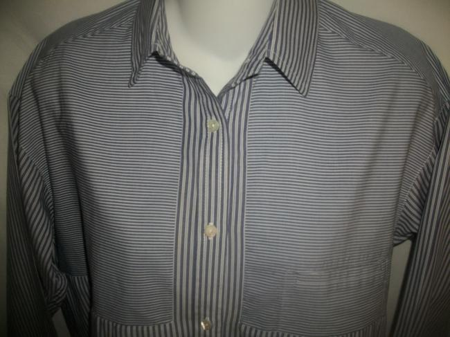 Vince Button Down Shirt Blue and White Image 1
