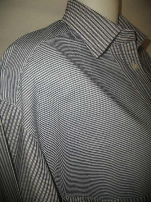Vince Button Down Shirt Blue and White Image 2