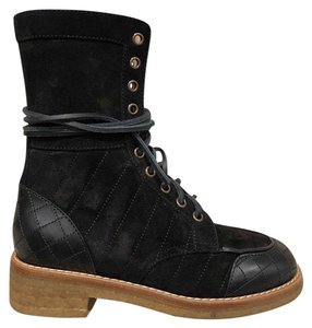 Chanel Quilted Combat Classic black Boots