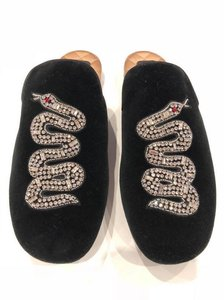 Gucci Snake Crystal Loafer Mule black Flats